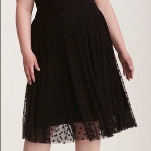 Torrid tulle Swing skirt polka dot black spandex